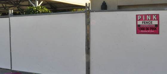 Hoarding - Pink Fence - Portable Fencing Specialist